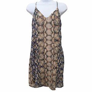Lavender Brown Snake Print Cami Slip Dress